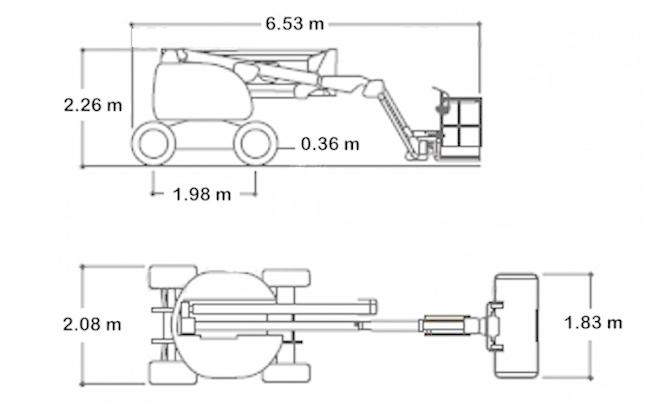 Габариты JLG 16 м подъемник электрический